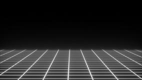 A grade simples de néon retro no espaço escuro, superfície plana, 3d rende contexto gerado por computador ilustração stock