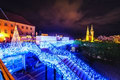 Gradec Zagreb Chatedral christmas lights. Christmas lights on Upper towen in Zagreb Croatia on Advent 2018 with Zagreb Chatedral in the background Royalty Free Stock Photos