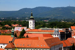 Gradec, Zagreb. Gradec - part of the medieval nucleus of Zagreb Croatia. Historic St. Mark`s Church with colorful roof is the landmark of Gradec. Gradec is a Royalty Free Stock Image