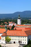 Gradec, Zagreb. Gradec - part of the medieval nucleus of Zagreb Croatia. Historic St. Mark`s Church with colorful roof is the landmark of Gradec. Gradec is a Stock Photos