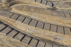 Graded Earth Aerial. Aerial of graded dirt home sites ready for construction royalty free stock images