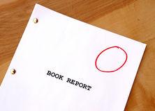 Gradeless Book Report. A book report on a desk with no grade displayed Royalty Free Stock Image
