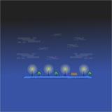 Graden på vektorn för nattlandskapöversikt Royaltyfria Bilder