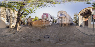 360 graden panorama van Art Gallery La Boheme in Plovdiv, Bulga Stock Foto