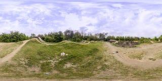 360 graden panorama van een fietspad in Plovdiv, Bulgarije Stock Foto's