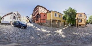 360 graden panorama van huis-Museum Nedkovich in Plovdiv, Bulga Royalty-vrije Stock Fotografie