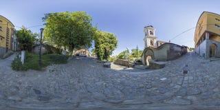 360 graden panorama van Kerk Heilige Moeder van God in Plovdiv, Bu Stock Fotografie