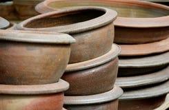Graden's pots. Clay pots in outdoor pile Royalty Free Stock Photos