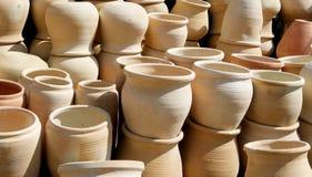 Graden's pots. Clay pots in outdoor pile Stock Photo