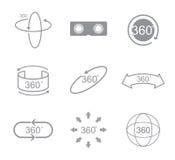 360 graden van het meningsteken het pictogram Royalty-vrije Stock Afbeeldingen