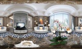 360 graden van huisbinnenland, woonkamer vector illustratie