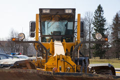 Grader. Close up. yellow color Royalty Free Stock Photo