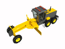 Grader. Construction machinery. Three-dimensional model of a construction machine. Raster illustration. Rendering object. Stock Image
