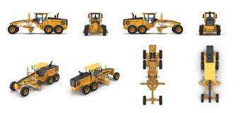 Grader Heavy earth moving equipment renders set from different angles on a white. 3D illustration Royalty Free Stock Photos