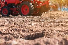 Grader leveling landfill on construction site before kick off pr. Oject royalty free stock photo