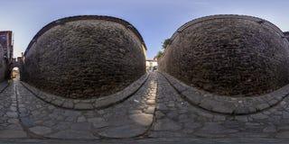 360 grader panorama av den Hisar kapiyaporten i Plovdiv, Bulgarien Fotografering för Bildbyråer