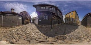 360 grader panorama av det Ritora huset i Plovdiv, Bulgarien Arkivfoton