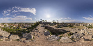 360 grader panorama av Nebet tepe i Plovdiv, Bulgarien Royaltyfri Fotografi
