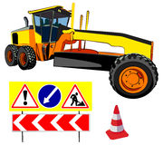 Grader and road signs, vector illustration Royalty Free Stock Photo
