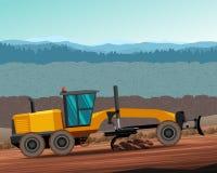Grader side view color illustration Stock Image