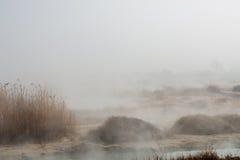 75 grader - temperaturen av vattnet i Rupite, Bulgarien Arkivbilder