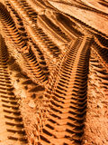 Grader Trace On Sand Royalty Free Stock Photography