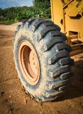 Grader wheel. A construction working outside Royalty Free Stock Photography