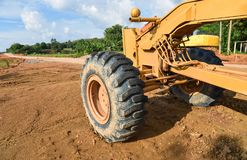 Grader wheel. A construction working outside Royalty Free Stock Photo