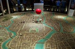 Graderad-ner modell av den Hiroshima staden som slätas ut efter explosionen fotografering för bildbyråer
