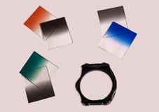 Graderade neutrala den isolerade täthetkameran filtrerar med hållaren som används för fotografi Royaltyfri Bild