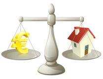 Graderar det kontanta euroet för huset begrepp Royaltyfria Foton