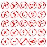 Gradergebnisse Hand gezeichneter Vektorsatz Grade mit Mängeln und Plus Stockbilder