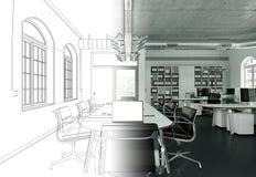 Gradering för teckning för inredesignkontor in i fotografiet Arkivfoto