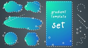 Gradiënt blauwe die malplaatjes voor ontwerp worden geplaatst vector illustratie