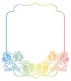 Gradiëntetiket met decoratieve bloemen De ruimte van het exemplaar Stock Foto's