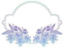 Gradiëntetiket met decoratieve bloemen De ruimte van het exemplaar Stock Foto