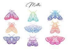 Gradiëntinzameling van mot, decoratieve stijl Moderne abstracte vlinders, vectorillustratie Royalty-vrije Stock Fotografie