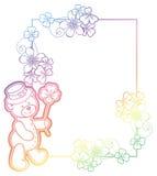 Gradiëntkader met klaver en leuke teddybeer Het art. van de roosterklem Royalty-vrije Stock Afbeelding