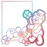 Gradiëntkader met klaver en leuke teddybeer Het art. van de roosterklem Royalty-vrije Stock Afbeeldingen