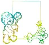 Gradiëntkader met klaver en leuke teddybeer Het art. van de roosterklem Stock Foto