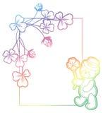 Gradiëntkader met klaver en leuke teddybeer Het art. van de roosterklem Stock Afbeeldingen