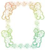 Gradiëntkader met klaver en leuke teddybeer Het art. van de roosterklem Royalty-vrije Stock Fotografie