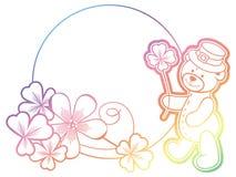 Gradiëntkader met klaver en leuke teddybeer Roosterklem AR Stock Foto