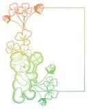 Gradiëntkader met klaver en leuke teddybeer Roosterklem AR Stock Foto's