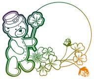 Gradiëntkader met klaver en leuke teddybeer Roosterklem AR Royalty-vrije Stock Afbeelding
