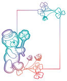 Gradiëntkader met klaver en leuke teddybeer Roosterklem AR Stock Fotografie
