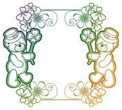Gradiëntkader met klaver en leuke teddybeer Roosterklem AR Stock Afbeelding