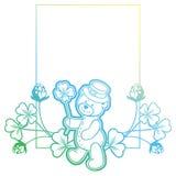 Gradiëntkader met klaver en leuke teddybeer Roosterklem AR Royalty-vrije Stock Afbeeldingen