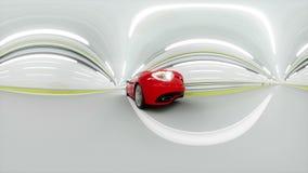 360 gradi di panorama automobile sportiva rossa in un tunnel Azionamento veloce animazione 3D illustrazione di stock