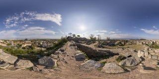 360 gradi di panorama del tepe di Nebet a Filippopoli, Bulgaria Fotografia Stock Libera da Diritti